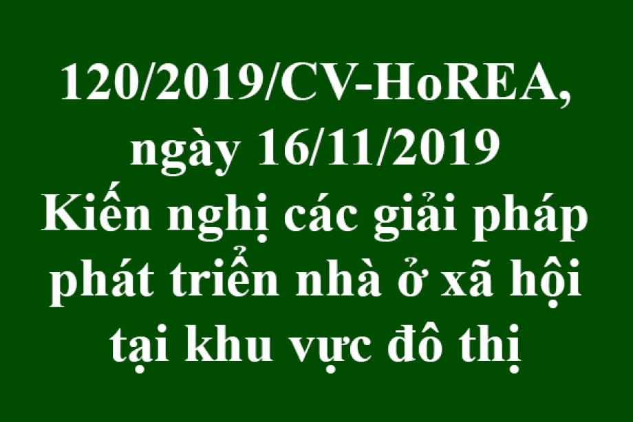 Công văn 120/CV-HoREA, ngày 16/11/2019, kiến nghị các giải pháp phát triển nhà ở xã hội tại khu vực đô thị