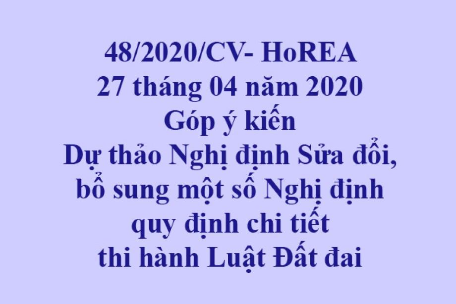 48/2020/CV- HoREA, Góp ý kiến Dự thảo Nghị định Sửa đổi, bổ sung một số Nghị định quy định chi tiết thi hành Luật Đất đai