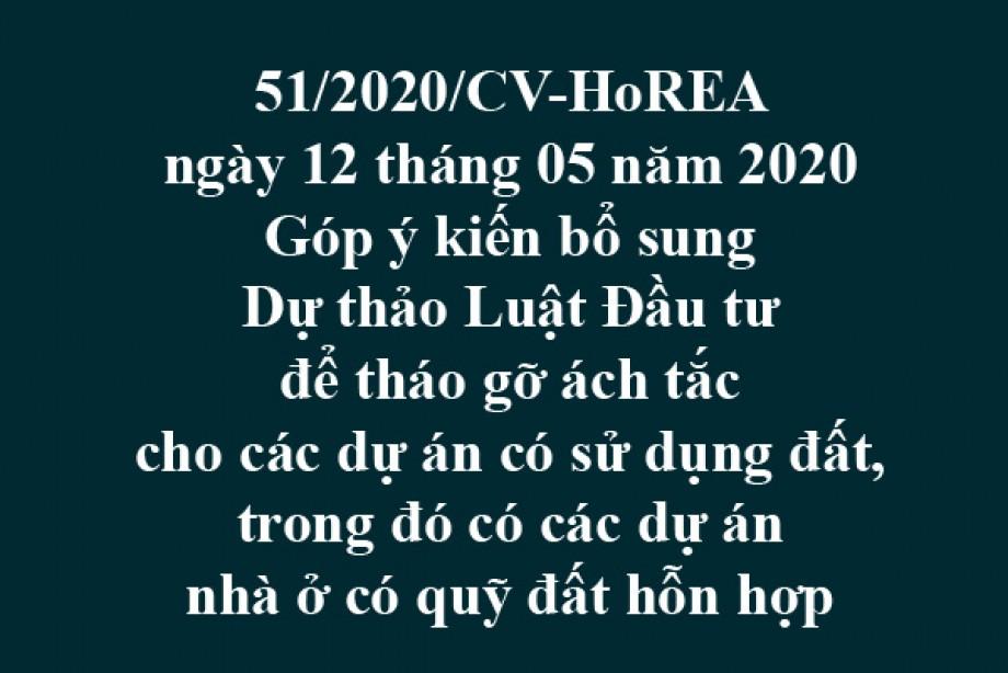 51/2020/CV-HoREA, ngày 12/05/2020 Góp ý kiến bổ sung Dự thảo Luật Đầu tư để tháo gỡ ách tắc cho các dự án có sử dụng đất, trong đó có các dự án nhà ở có quỹ đất hỗn hợp