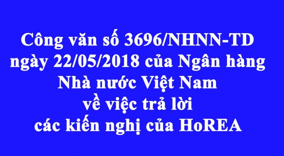 Công văn số 3696/NHNN TD ngày 22/05/2018 của Ngân hàng Nhà nước Việt Nam