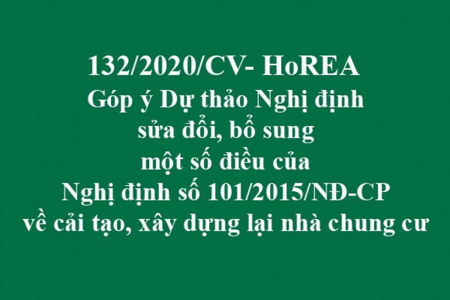 132/2020/CV-HoREA, ngày 03 tháng 12 năm 2020 Góp ý Dự thảo Nghị định sửa đổi, bổ sung một số điều của Nghị định số 101/2015/NĐ-CP về cải tạo, xây dựng lại nhà chung cư